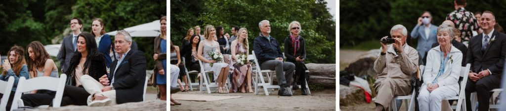 Various candid photos of the guests attending the ceremony in Spanish Banks