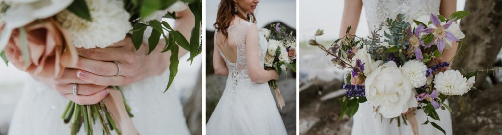 Various details of the bride's dress during the portrait session