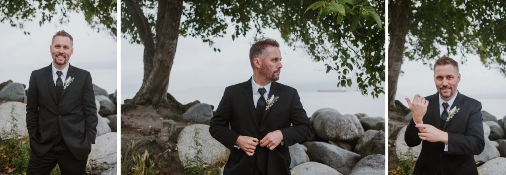 Candid photo of the groom during the portrait session in spanish banks