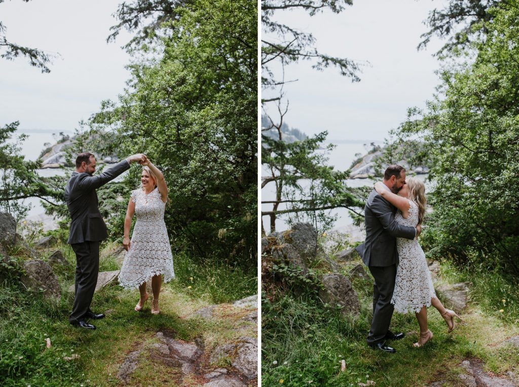 Bride and groom dancing during their portrait session