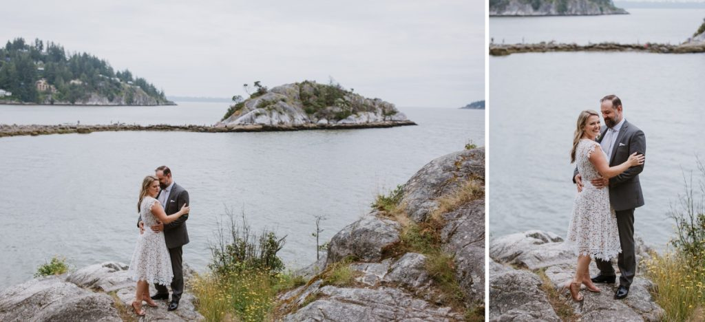 Bride and groom portraits in whytecliff park