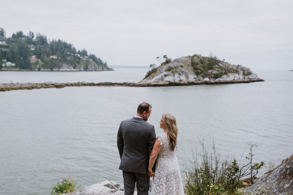 Bride and groom portraits taken in whytecliff park