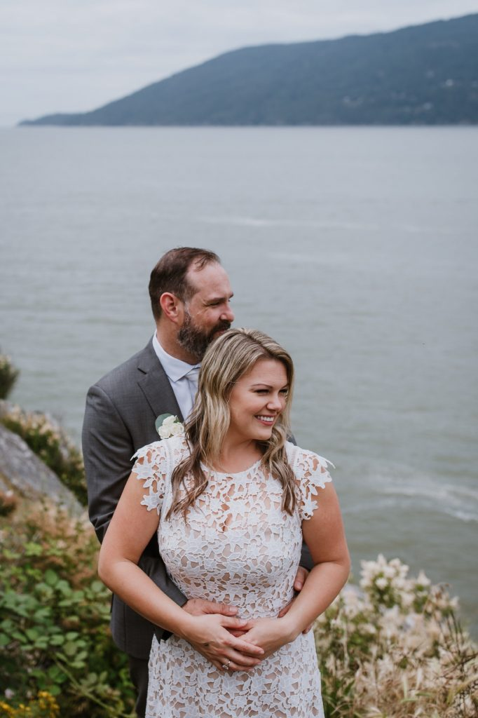 Bride and groom portraits taken in whytecliff park west vancouver