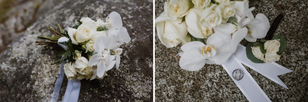 Detail photography of bride's flowers and wedding rings