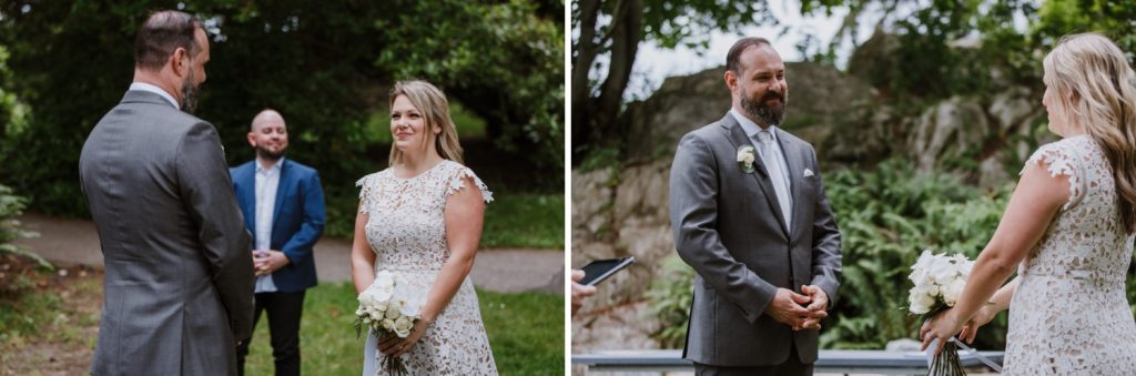 Individual photos of bride and groom looking at each other during the elopement ceremony